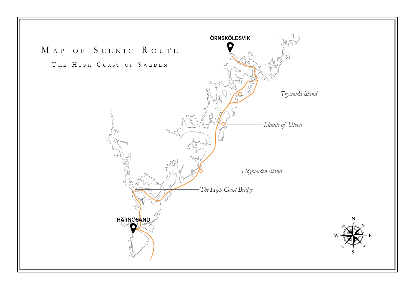 Map of scenic route High Coast